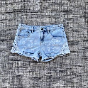 Free People Distressed High Waisted Crochet Shorts